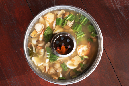 goong: Tom yam goong clear soup style, traditional thai food