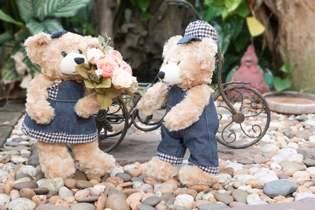 cartoon bouquet: two teddy bears with roses on garden background, love concept for valentines day, wedding and anniversary