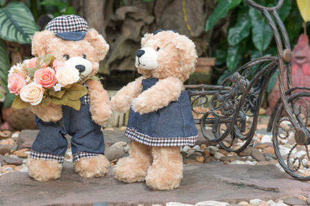 teddy bear cartoon: two teddy bears with roses on garden background, love concept for valentines day, wedding and anniversary