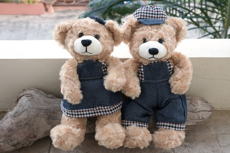 soul mate: two teddy bears on wood background, concept love