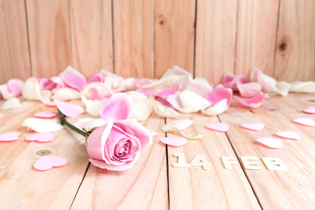 cute flowers: pink roses and pink hearts for valentines day, love concept