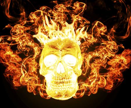 satanic: Satanic skull on fire from hell background, burning skull darkness concept horror halloween