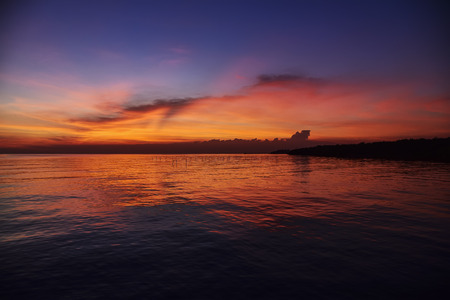 colorful cloudscape: beautiful twilight sky and seascape, colorful cloudscape background, landscape Stock Photo