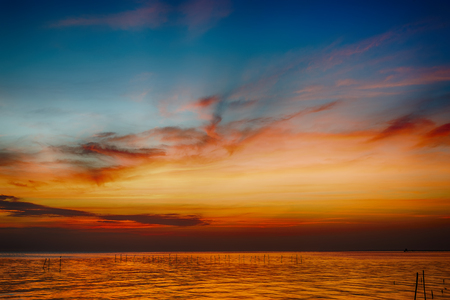 colorful cloudscape: beautiful seascape and twilight sky, colorful cloudscape background, landscape Stock Photo