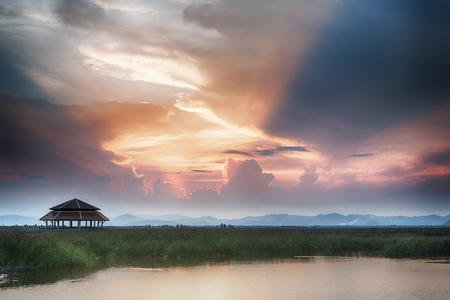 colorful cloudscape: beautiful twilight sky and landscape, colorful cloudscape background