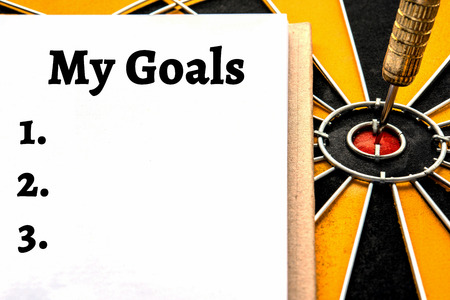 measurable: Words my goals setting and dart target arrow on bullseye with copy space, Smart goal target success business investment financial strategy concept, abstract background