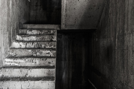 place of living: Stair in abandoned building ghost living place, darkness horror and halloween background concept Stock Photo