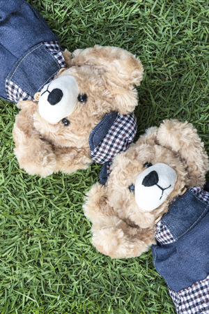 relax garden: Couple teddy bears rest on lawn, two teddy bears relax in garden, love and friendship concept Stock Photo