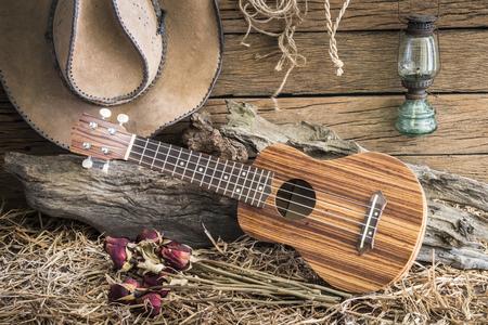 rodeo americano: La fotograf�a fija vida con las rosas ukelele y secos con americana marr�n rodeo al oeste sent�a sombrero de vaquero en el rancho de la vendimia fondo granero