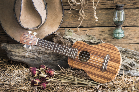 Still life photography with ukulele and dry roses with american west rodeo brown felt cowboy hat in vintage ranch barn background Stock Photo