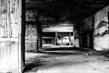 place of living: Abandoned building ghost living place, darkness creepy and horror background concept Stock Photo