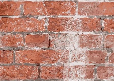 stonework: old orange brick wall texture background, vintage style, vector illustration Stock Photo
