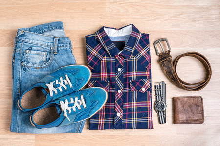 top view still life with clothing trendy casual men on wooden table