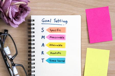目メガネ、紫薔薇とカラフルな付箋の机の上のノートに手書きスマート目標設定の定義