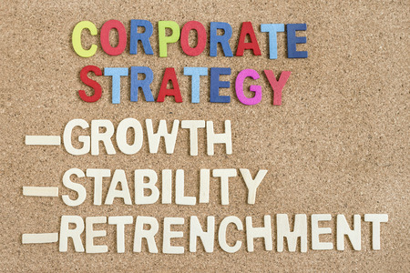 formulation: words corporate strategy growth stability retrenchment on wooden board, top view, strategy concept