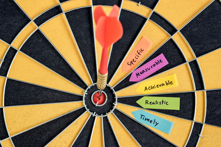measurable: words smart goals specific measurable achievable realistic timely with dart target in bullseye on dartboard, Business success concept
