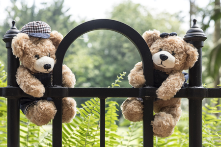 fence park: Teddy bears hanging on a fence in park with copy space, love and friendship concept in vintage style