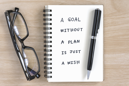 a goal without a plan is just a wish motivational handwriting on a notebook with pen and eye glasses on the desk Standard-Bild