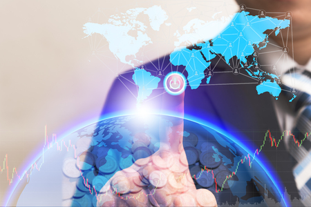 Businessman turn on power switch hologram to connect global connection with digital planet screen, Future technologies concept