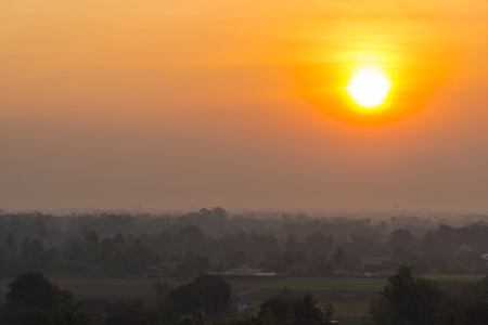 Dramatic sunrise sky with landscape in Kanchanaburi, Thailand