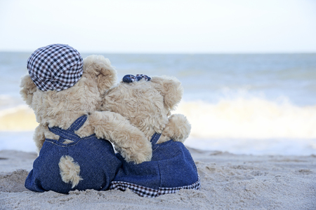 Two teddy bears sitting on the beach and see blue sky and sea, Love Concept