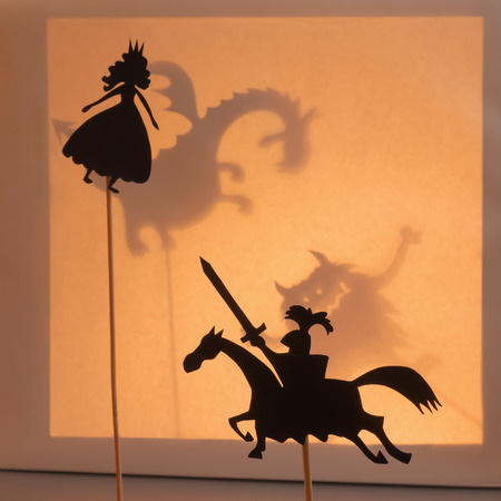 puppets: Princess and Knight shadow puppets.