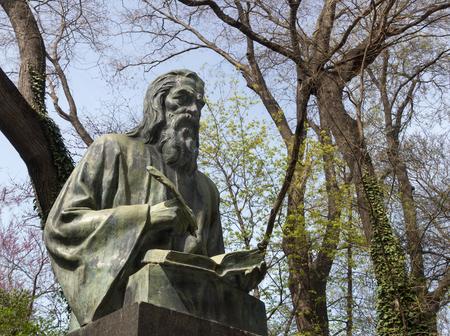 clergyman: Varna, Bulgaria, the monument of Saint Paisius of Hilendar - a Bulgarian clergyman and a key Bulgarian National Revival figure.
