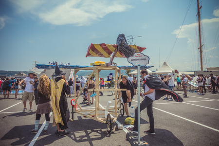 Varna, Bulgaria - Jule 02, 2016: Red Bull Flugtag 2016 competition was held in the sea port of Varna. During Flug Tag event competitors attempt to fly off a pier into the sea their home-made human-powered flying machines. Competition are judged in three c