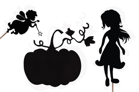 cinderella pumpkin: Shadow puppets of Cinderella, Fairy Godmother and Pumpkin with their shades on white background.