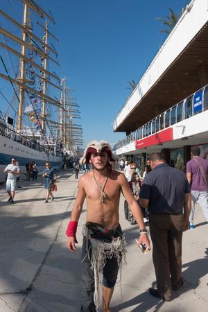 pirate crew: Varna, Bulgaria, October 01, 2016: Varna hosts one of the biggest maritime event - SCF Black Sea Tall Ships Regatta. A participant in a pirate fancy dress.