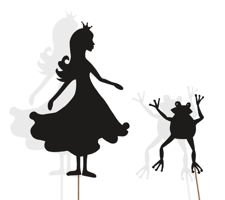 Shadow puppets of Princess and Frog isolated on white background. Imagens