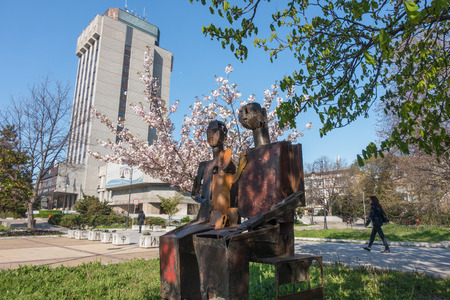 The modern sculpture Family situated in a small park next to the high-rise of Varna city hall.