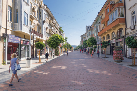 Summer view of the central pedestrian area in the historical center of Varna, Bulgaria