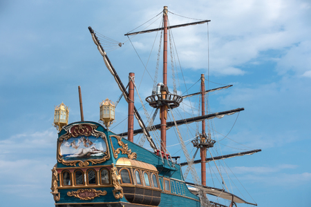 Mr. Baba fish restaurant was built in a real size and an original form of XVth century galleon ship. Located on the South Beach of Varna, Bulgaria,