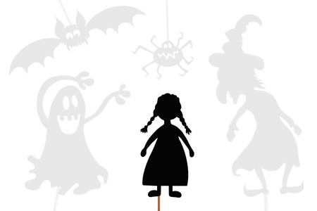 Shadow puppets of little girl, surrounded by shades of evil witch, spider, ghost and vampire bat, isolated on white background.