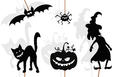 Shadow puppets of Halloween pumpkin, evil witch, spider, black cat and vampire bat, isolated on white background.