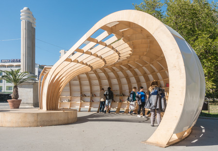 Varna, Bulgaria, October 14, 2017: A free public library Rapana was opened in the Sea Garden of Varna. Its wooden structure holds a lot of books on its shelves - free for take a book - return a book exchange.