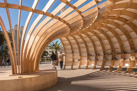 Varna, Bulgaria, October 14, 2017: The Rapana street library was opened in the Sea Garden of Varna. Wooden structure of the open-air library was built using 240 wooden pieces; it can hold about 1500 books. Editorial