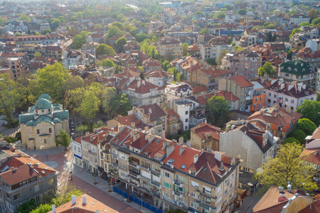 Aerial view of the historical center of Varna, Bulgaria, Black Sea coast.