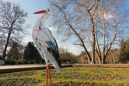 A big metal stork figure landed at the entrance of the Sea Garden of Varna. On the storks neck and beak there are several traditional bulgarian good luck charms named martenitsi - handmade red-and-white spring bracelets which are worn from Baba Marta Day (March 1) until the wearer first sees a stork, a swallow, or a blossoming tree.
