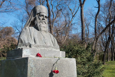 The monument of Varna and Preslav metropolitan bishop Simeon (1840-1937) - a Bulgarian clergyman, enlightener, scientist and writer.