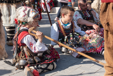 Varna, Bulgaria - April 28, 2018: Young participants of the annual Varna Spring Carnival in their beautiful folk costumes.