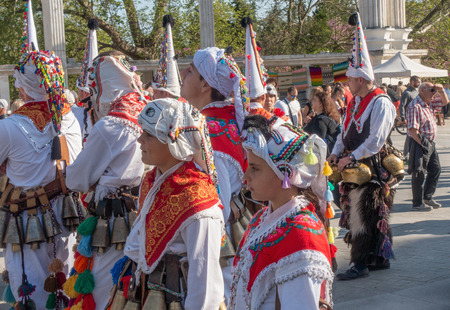 Varna, Bulgaria - April 28, 2018: Participants of the annual Varna Spring Carnival - girls in beautiful folk clothing.