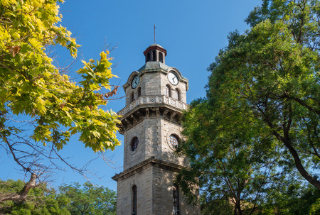 Summer view of Varna Clock Tower - one of best known citys landmarks. Varna, Bulgaria.