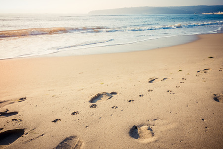 Footprints of human and dog on the deserted sea beach at sunrise.