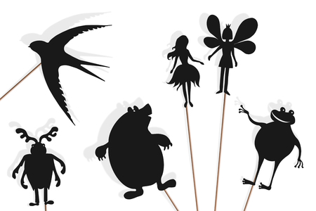 Shadow puppets of Thumbelina, flower fairy prince, swallow, mole, stag beetle (may bug) and toad. Isolated on white background. Stock Photo - 125107733