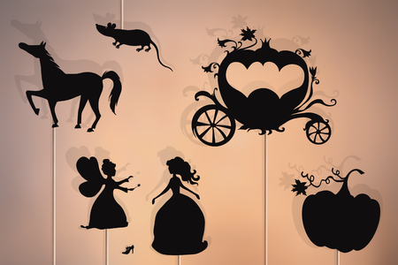 Shadow puppets of Cinderella, fairy godmother, glass slipper, pumpkin, mouse, enchanted carriage and horse.