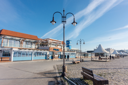 Varna, Bulgaria, February 27, 2019: City view of the Sea Port of Varna in a sunny winter day. Editorial