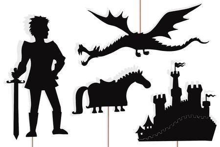 Marionetas de sombras del valiente caballero, el dragón volador, el castillo y el caballo de los caballeros.