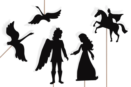 Shadow puppets of enchanted wild swans, princess and prince, isolated on white background.